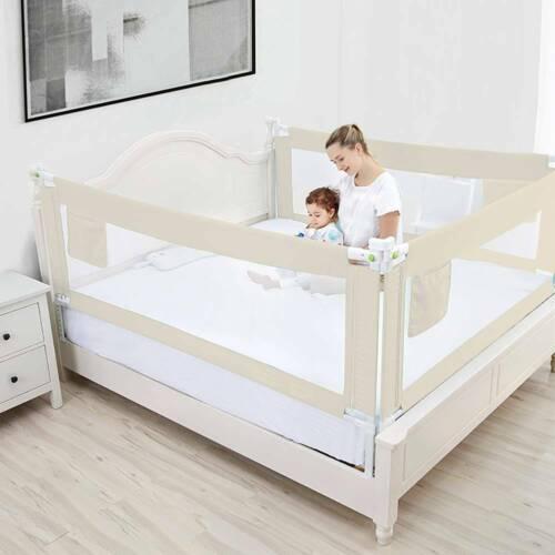 Safety Adjustable Portable Bed Rail Kid/'s Cot Side Barrier Protection Beige