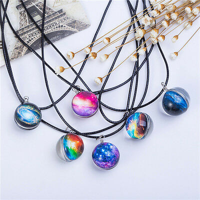Clear Glass Stars Galaxy Pattern Necklaces Glass Ball Pendant Necklace Fine Gift