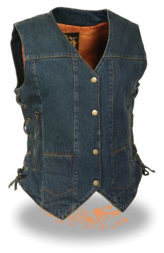 WOMEN/'S MOTORCYCLE BLUE NAVY 6 POCKET LIGHT WEIGHT DENIM VEST WITH SIDE LACES