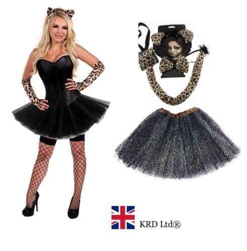 Leopardo Adulto Halloween Disfraz Tutú Disfraz Falda señoras Gato Silvestre Guantes de Reino Unido