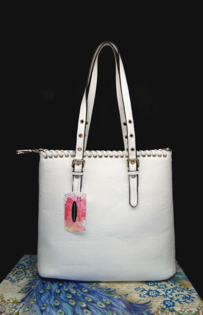 Chinese Laundry White Handbag W Whipsching Cosmetic Bag Dust Cover Nwt