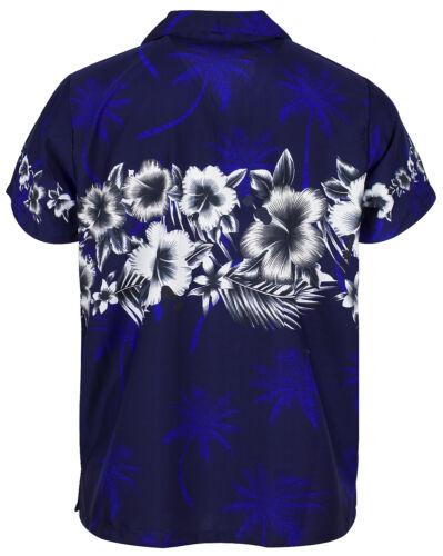 Funky Hawaii camicia fiori petto pressione navyblau