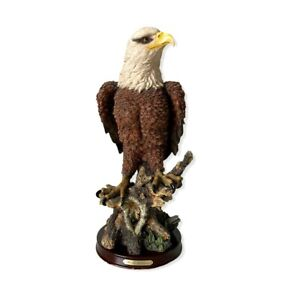 Pacific Collection Majestic Bald Eagle On Stump Statue Resin Sculpture  Large