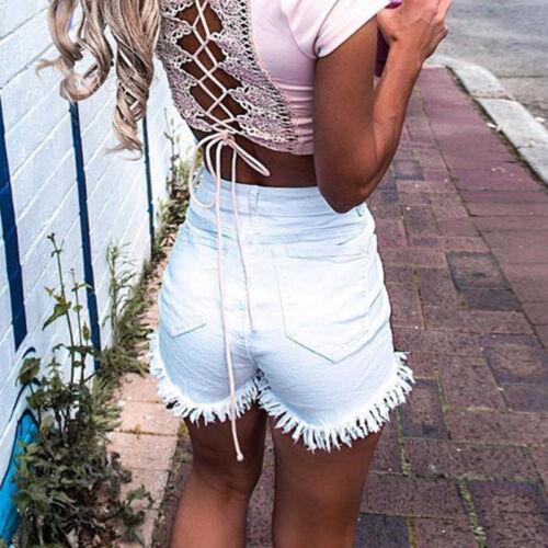 Damen Hohe Taille Ripped Denim Jeans Sommer Shorts Kurze Hose Hotpants Pants