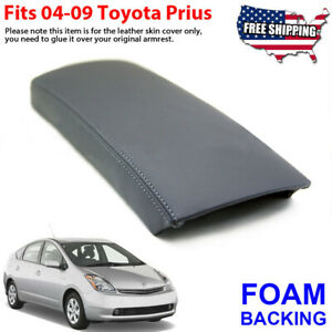Fits 2004-2009 Toyota Prius Leather Console Lid Armrest Cover Skin Gray