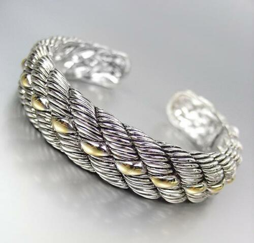 CLASSIC /& ELEGANT Designer Inspired Silver Gold Accents Cable Cuff Bracelet