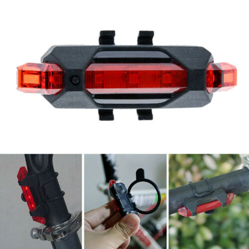 5 LED USB Rechargeable Bike Bicycle Tail Rear Safety Warning Taillight Lamp