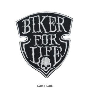 Biker-For-Life-Logo-Embroidered-Patch-Iron-on-Sew-On-Badge-For-Clothe-etc
