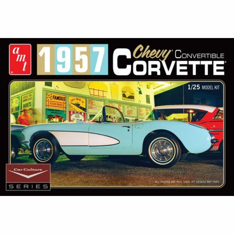 AMT 1 25 Cindy Lewis Car Culture - 1957 Chevy Corvette Congreenible (bluee)