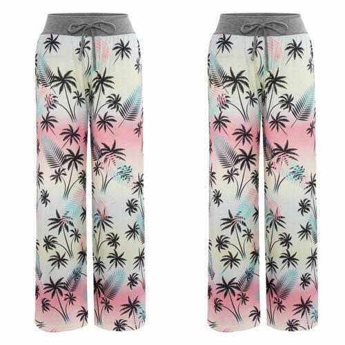 Girls Kids Cartoon Floral Pyjama Trousers Cotton Loose Lounge Straight Leg Pants
