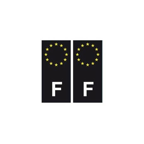 F Europe noir autocollant plaque -  Angles : droits