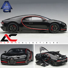 2017 Bugatti Chiron Nocturne Black W/red Accents 1/18 Model Car by AUTOart 70991