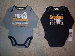 sports shoes 46e7f f7f61 Details about (2) Pittsburgh Steelers nfl INFANT BABY NEWBORN Jersey Shirt  3-6M 3-6 Months