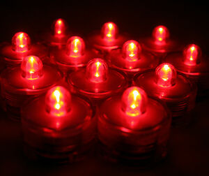 96 PCS~RED LED Submersible Tea Lights~Waterproof! Wedding Decor