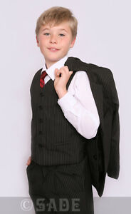 Image Is Loading Page Boys Black Pinstripe Suit Christening Wedding Formal
