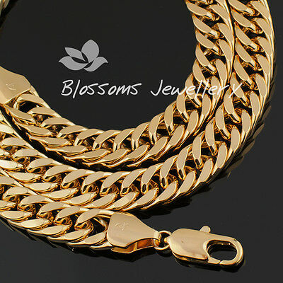"18K 18CT GOLD GF 10MM Wide Curb LINK Chain Mens Womens NECKLACE 24"" S21A 114Gram"