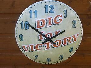 Nouvelle-marque-WWII-creuser-pour-la-victoire-Metal-Horloge-Murale-affichage-12-heures