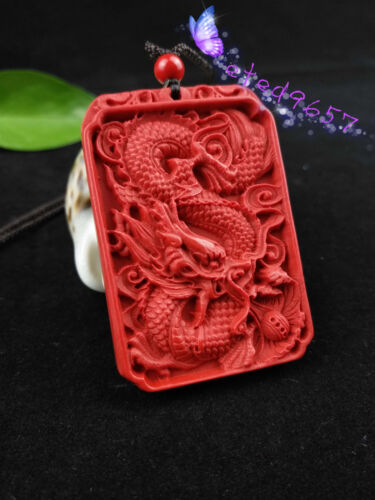 Chinois Naturel Rouge Organique cinabre Dragon collier pendentif Lucky Amulet Hot