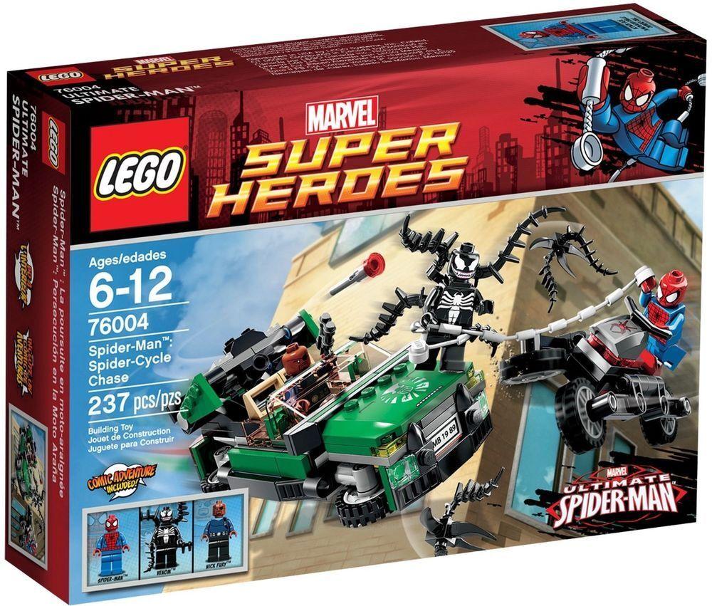 Lego Lego Lego Marvel Super Heroes 76004 Spiderman Spider Cycle Chase Venom FREE UK P&P a93f0f