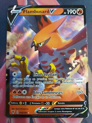 Carte Pokémon Flambusard V 168//185 Épée /& Bouclier Voltage Eclatant EB04 FR NEUF