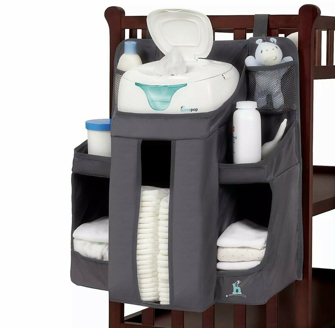 Large Capacity Diaper Nursery Organization for Newborn Boys and Baby Nursery Organizer Hanging Diaper Caddy Stacker for Changing Table Crib Playard and Wall