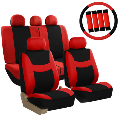 Car Seat Covers Red Set for Auto w//Steering Wheel//Belt Pad//Head Rests