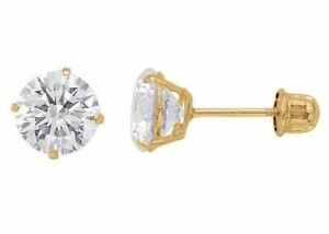 2-ct-White-Sapphire-Round-Stud-Earrings-in-14k-Yellow-Gold-w-Screw-Backs
