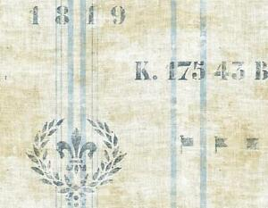 Wallpaper-Designer-Nautical-Blue-Stripe-on-Cream-Faux-Linen-With-Wreath-amp-Flags