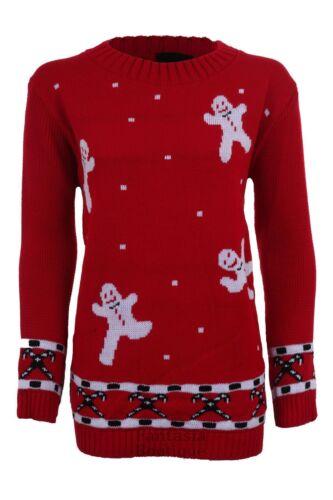 Ladies Long Sleeve Gingerbread Man Christmas Festive Reindeer Women/'s Jumper