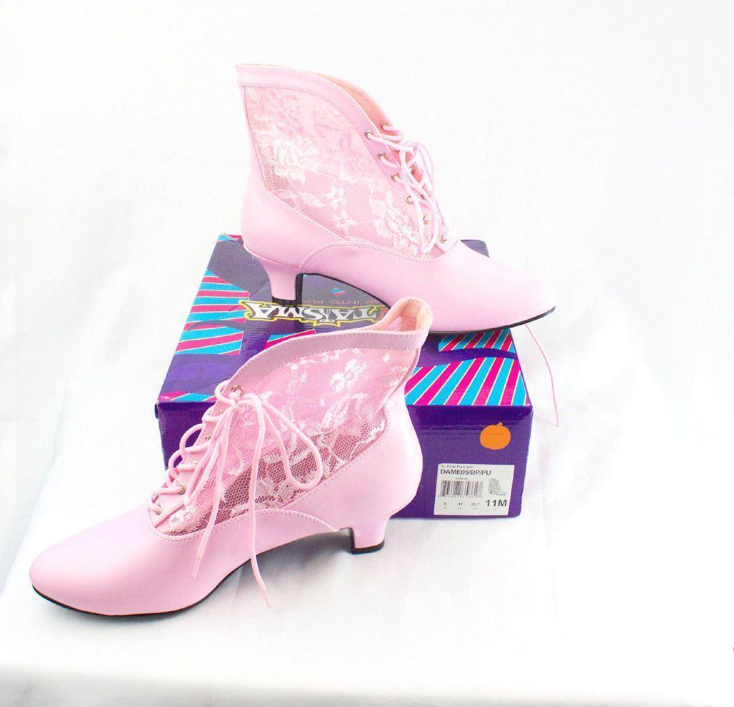 Funtasma Dame05 BP PU Rosa Pu-Lace Kittey Heel See Thru Steaming hot Größe 11