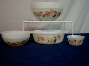 4 Fire-King Bowls/Dishes. Peach Blossom. Gay Fad Decorated. Mid-Century.