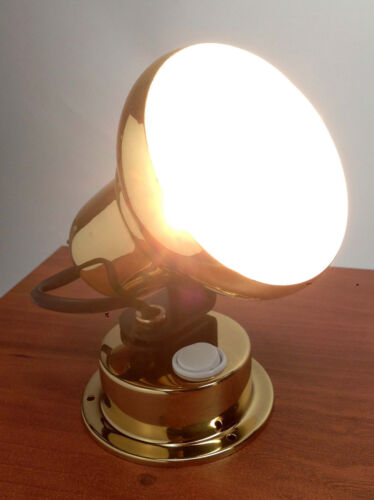 LACQUERED BRASS ACCENT HALOGEN SWIVEL READING LIGHT MARINE BOAT