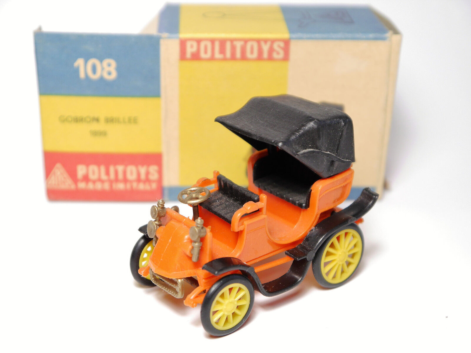 Gobron brillee 1899 in Orange, politoys microminiature   108 13.45 geboxt.