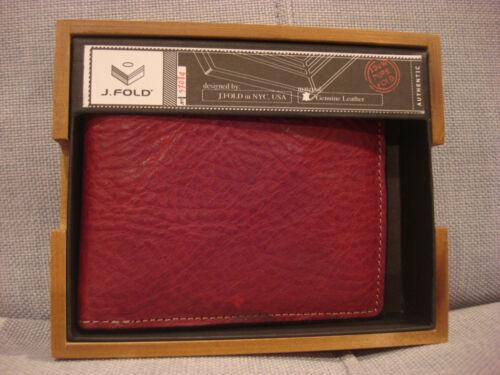 BRAND NEW FOLD RED TOP GRAIN SLIMFOLD LEATHER TORRENT WALLET N10011//05 J