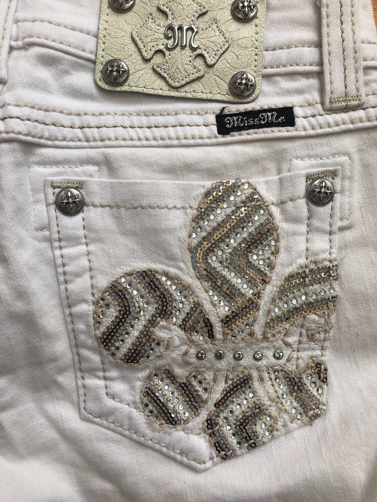 MISS ME White Bling Sequin Fleur De Lis Mid Rise Boot Cut Jeans Womens 30x32 NWT
