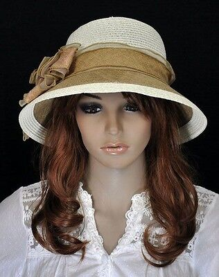 #Y301 Elegant Floral Lace Hemp Straw Wide Brim Summer Beach Sun Hat Cap CREAM