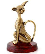 "Cognac Baltic Amber Funny Sphynx Hairless Cat Solid Brass Animal Figurine 2.1"""
