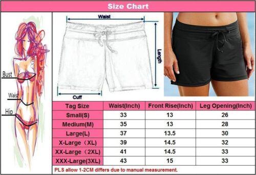 Damas Mujeres Negro cortos Pantalones Traje de Baño Playa laterales fruncidos Verano Talla S-XXXL