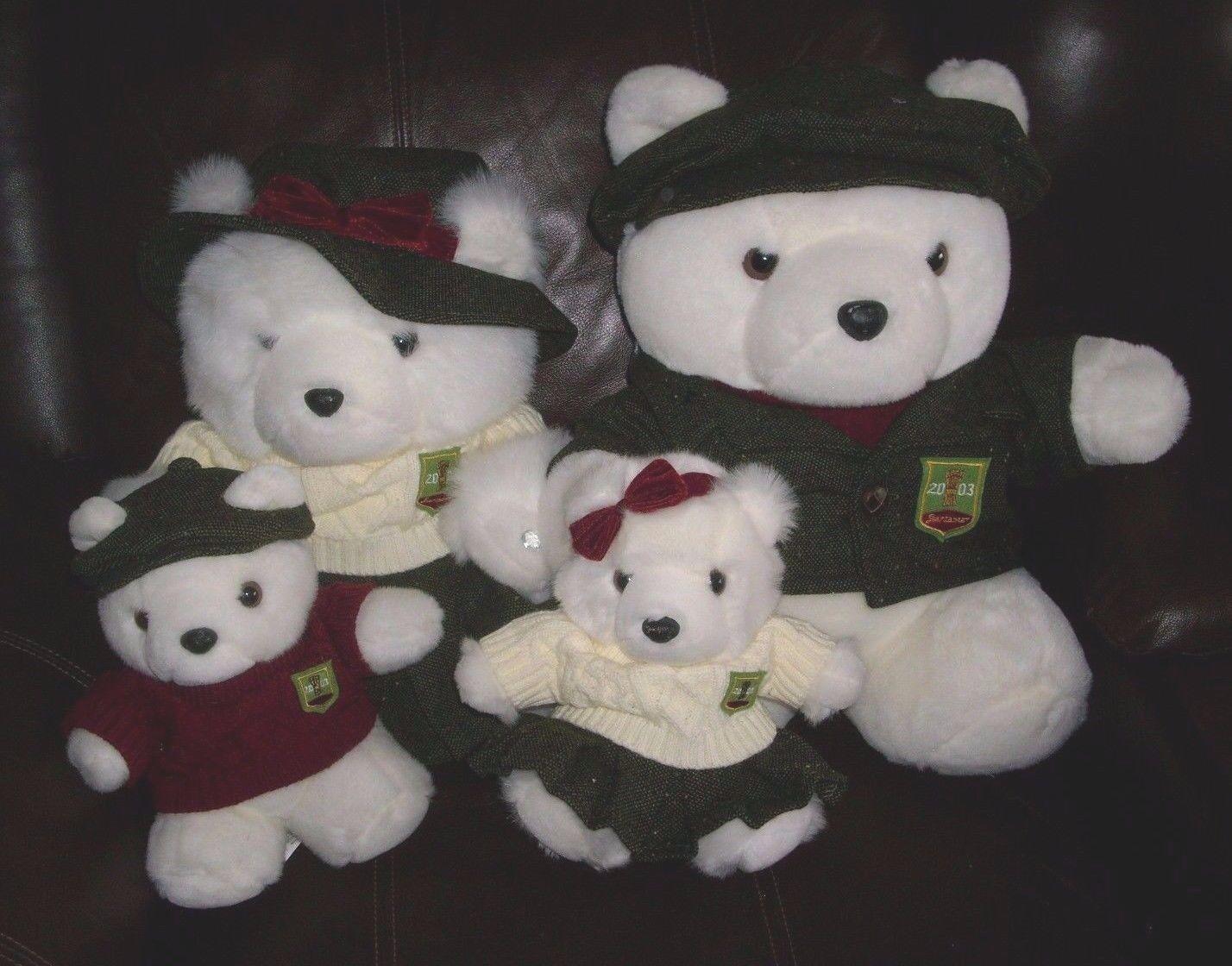 4 MARSHALL FIELDS 2003 SANTABEAR FAMILY MOM DAD TEDDY BEAR STUFFED ANIMAL PLUSH