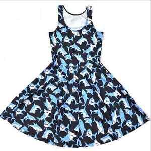 Cute-Funny-Great-White-Shark-Summer-Spring-Ocean-Skater-Kawaii-Sharks-Blue-Dress