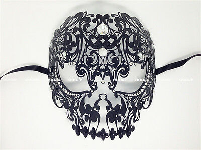 Men Devil Skull Laser Cut Black Metal Venetian Masquerade Women Mask w/Diamonds