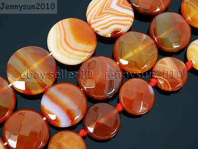 Red Carnelian Natural Agate Gemstone Faceted Round Coin Loose Beads 15'' Strand