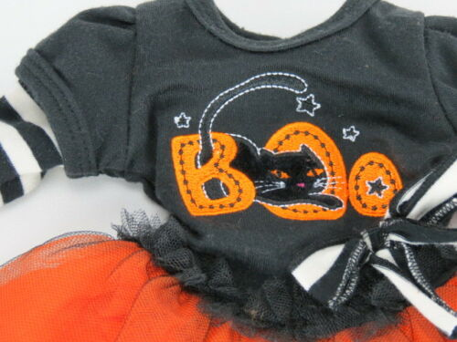 Black Cat HALLOWEEN DRESS BOO Layered Tee Striped Leggings fit American Girl