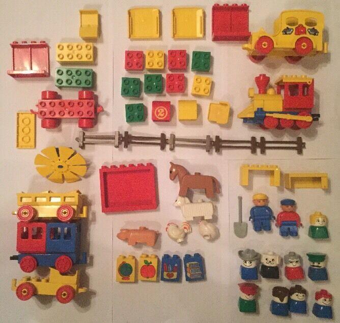 VINTAGE LEGO DUPLO TRENO  e animali da fattoria set da 1980 JOB LOTTO 69 PEZZI  in vendita scontato del 70%