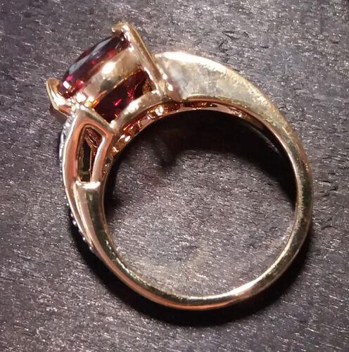 Bague luxe plaqué or 18k femme mode chic serti zirconium grenat diamant bijou