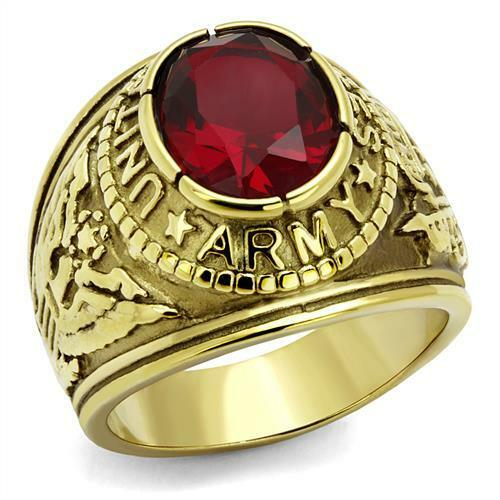 Mens-Gold-EP-Stainless-Steel-US-Army-United-States-USA-Military-Red-cz-Ring