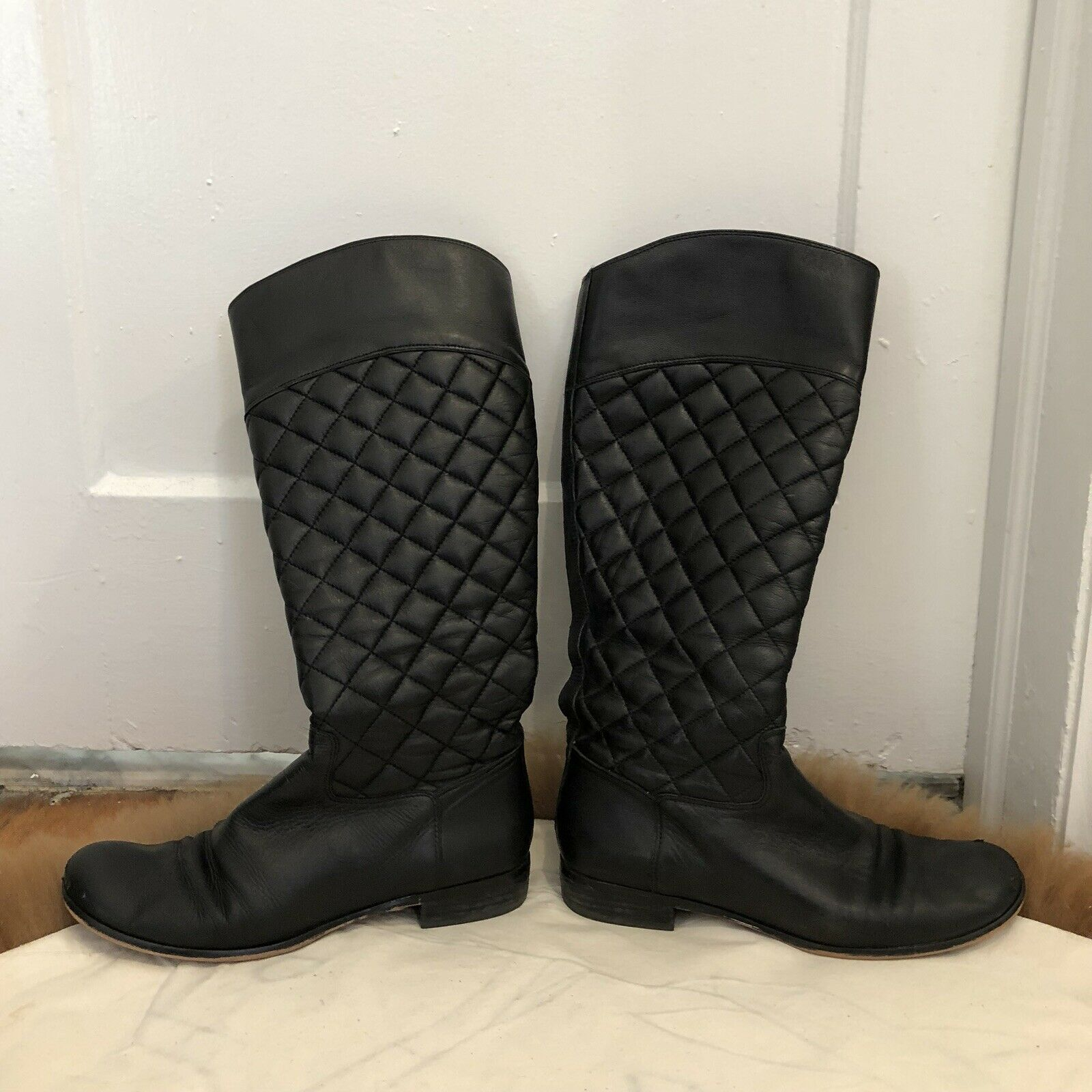 Corso Como black quilted leather womens ridind boots sz 8