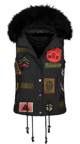 Marikoo Donna Gilet Primavera di transizione giacca cappuccio con pelo ARMY PATCH NUOVO b406