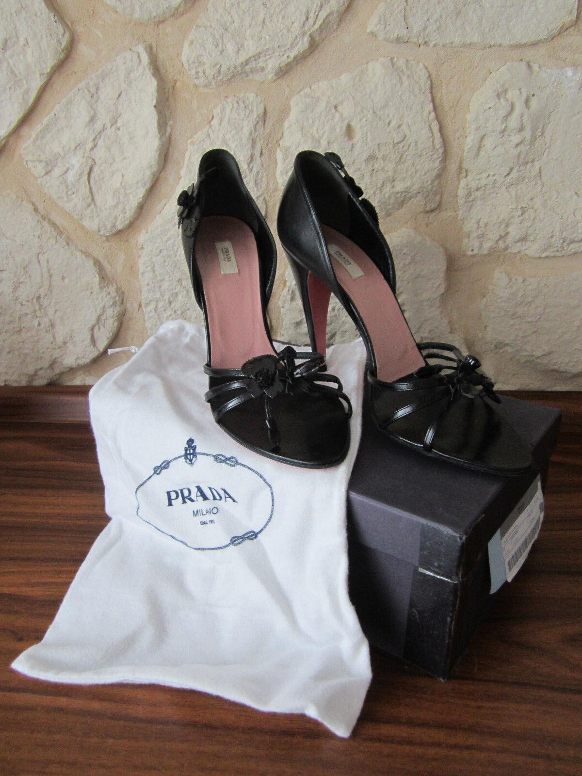 PRADA Pumps High Heels Sandale Gr. 40 (40,5) schwarz 3-218