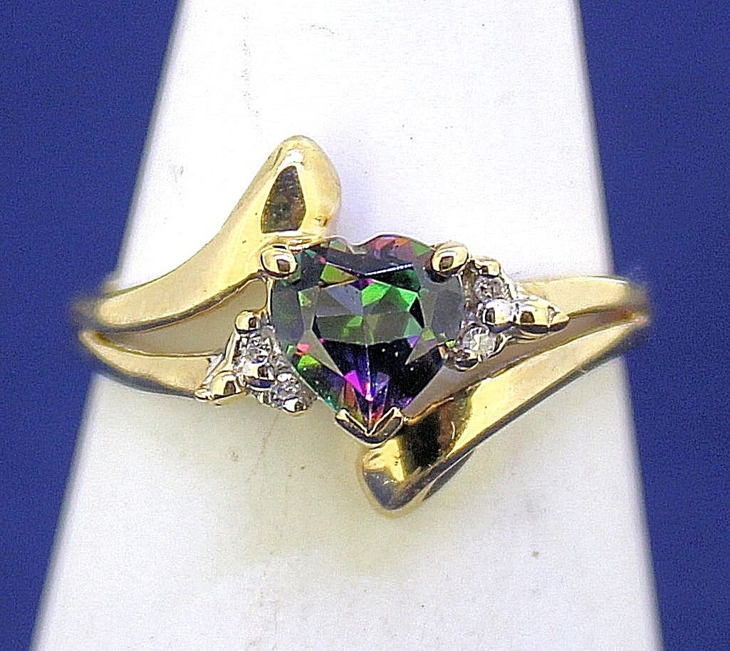 MYSTIC TOPAZ HEART AND DIAMOND ACCENTS RING SOLID 10 k gold 2.6 g SIZE 7